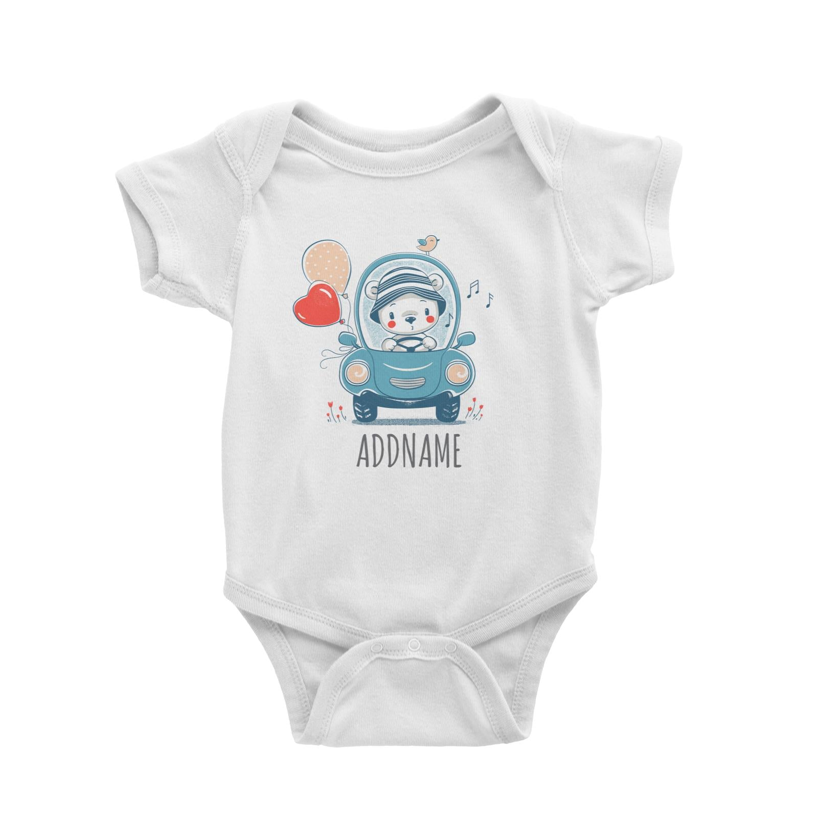 Bear Riding Car with Balloons White Baby Romper Personalizable Designs Cute Sweet Animal Love For Boys HG