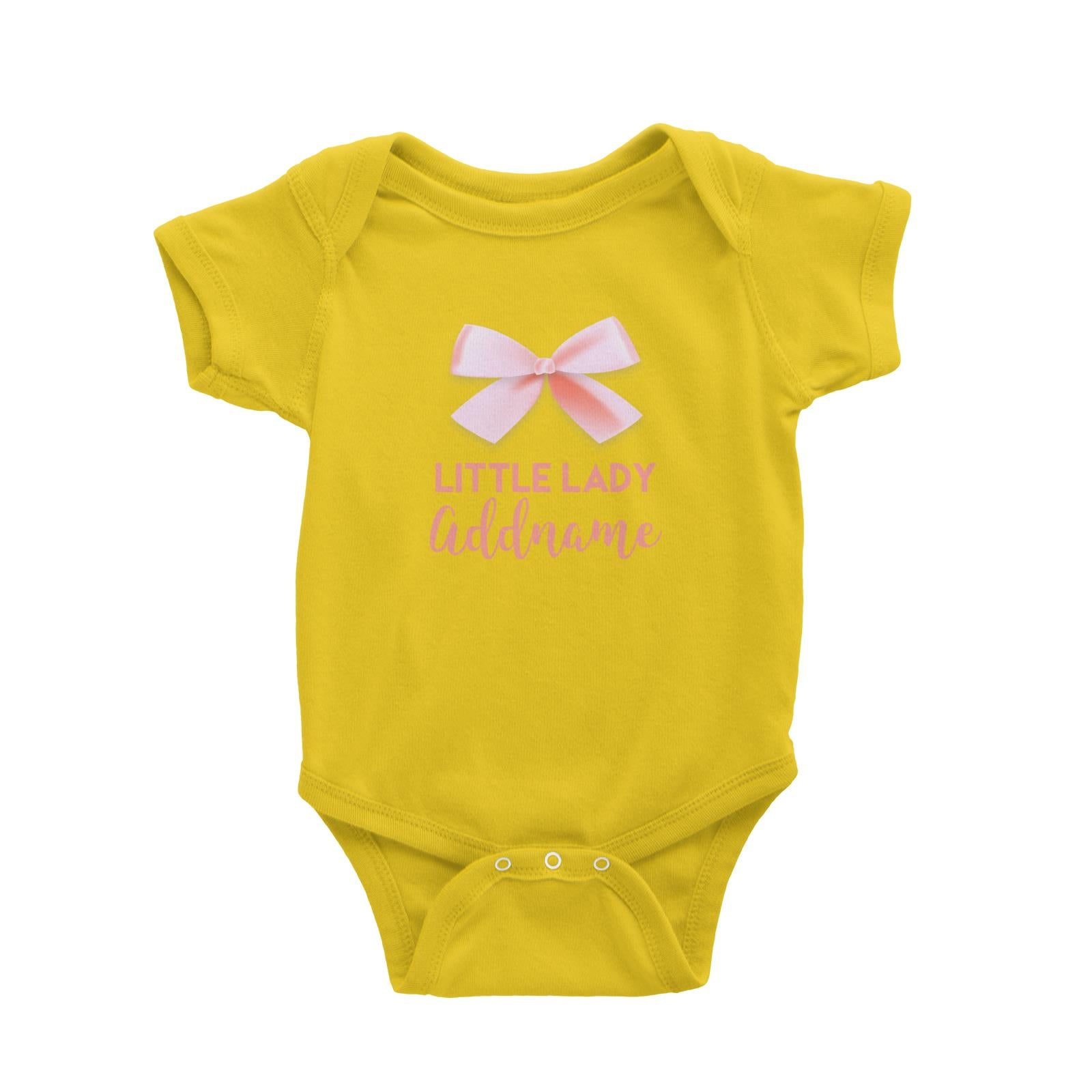 Pink Ribbon Little Lady Addname Baby Romper Personalizable Designs Basic Newborn
