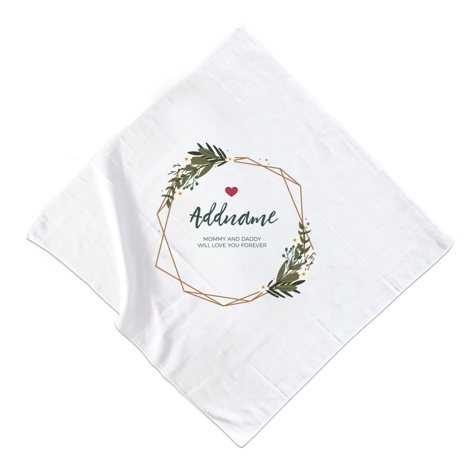 White Flowers and Geometric Frame Wreath Personalizable with Name and Text Muslin Square