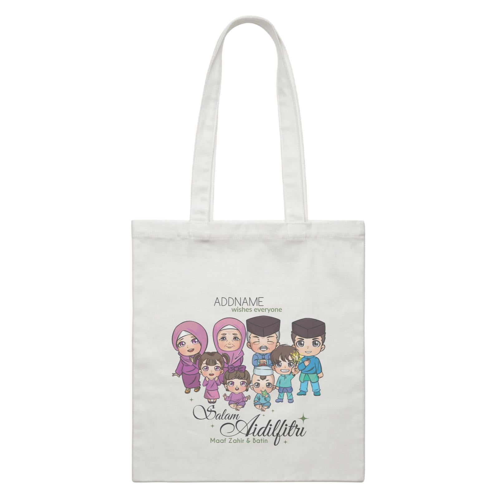 Raya Chibi Big Family Addname Wishes Everyone Salam Aidilfitri Maaf Zahir & Batin Accessories White Canvas Bag