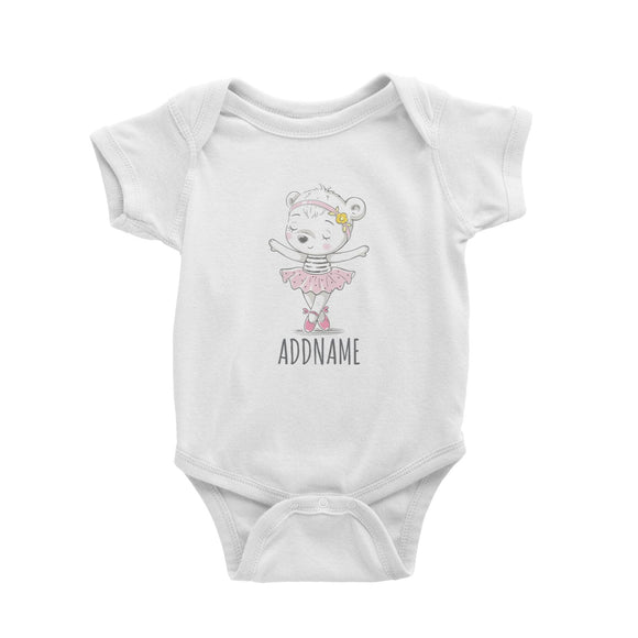 Girl Ballerina Bear White Baby Romper Personalizable Designs Cute Sweet Animal Ballet Hobby Pinky For Girls HG