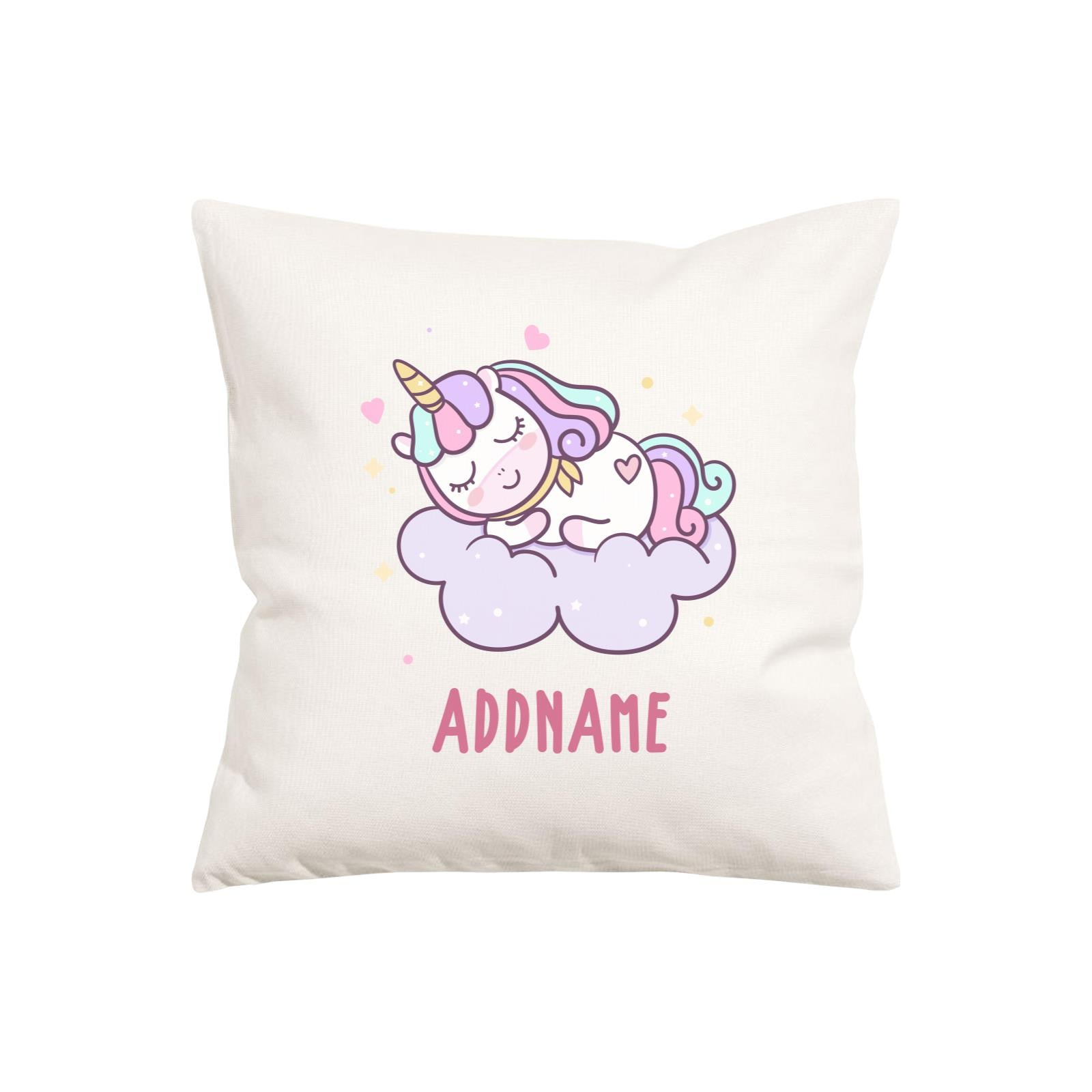 Unicorn And Princess Series Pastel Sleeping Unicorn On a Cloud Addname Pillow Cushion
