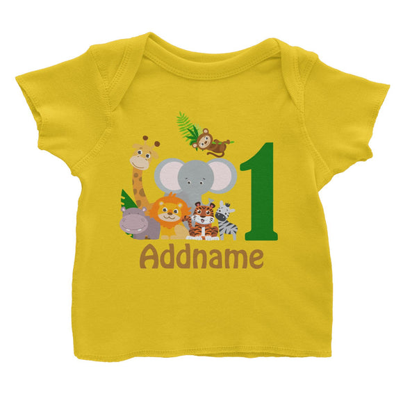 Animal Safari Jungle Birthday Theme Personalizable with Name and Number Baby T-Shirt