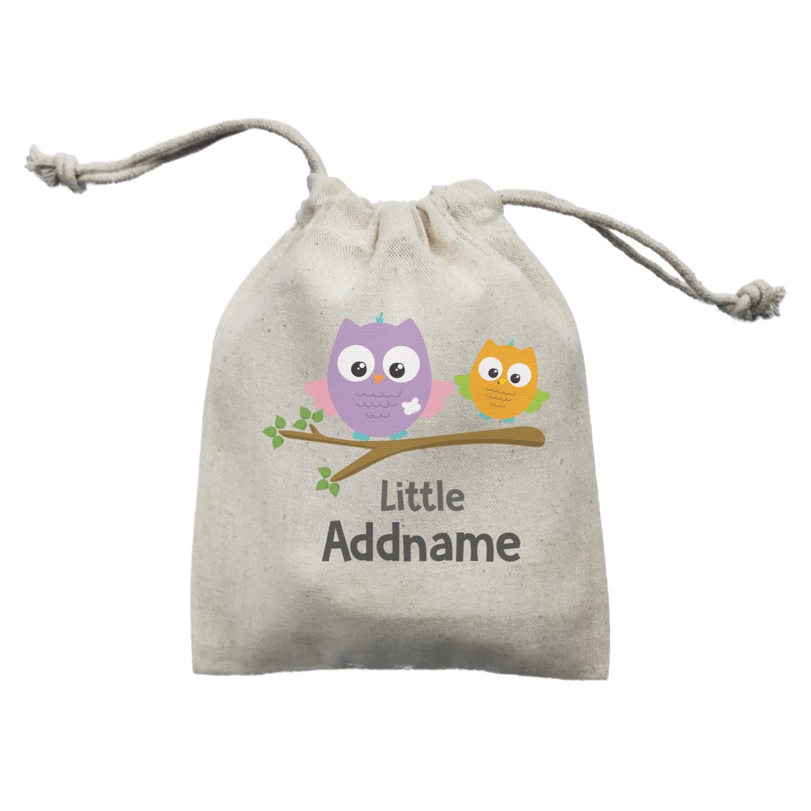 Cute Owls On Branch Little Addname Mini Accessories Mini Pouch