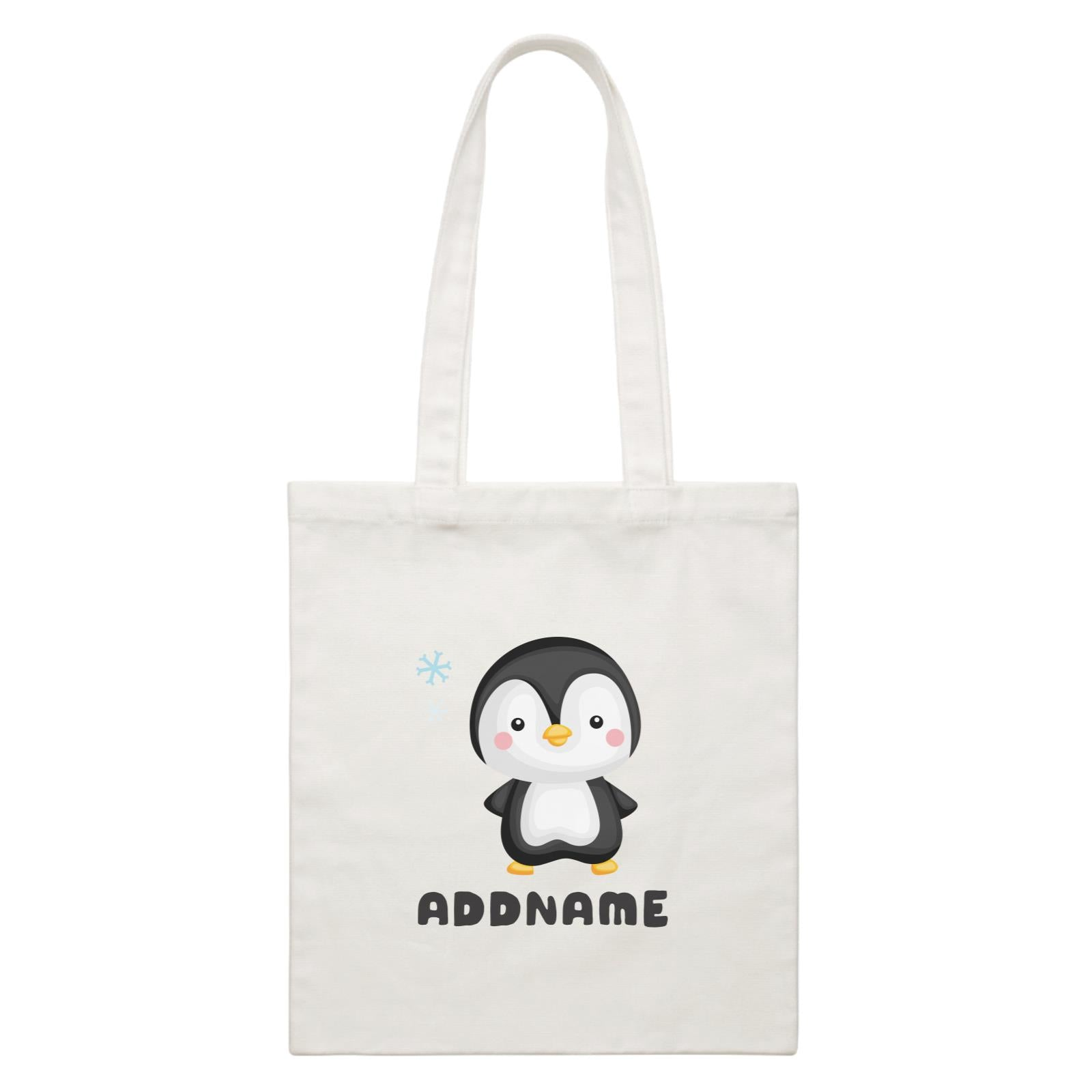 Birthday Winter Animals Small Penguin Addname White Canvas Bag