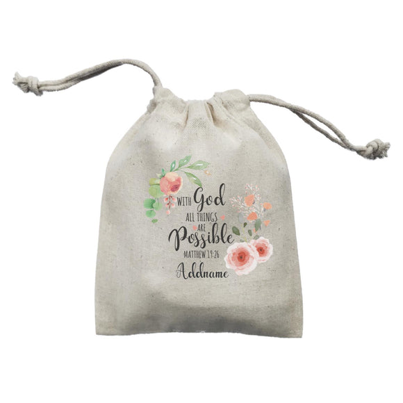 Gods Gift With God All Things Are Possible Matthew 19.26 Addname Mini Accessories Mini Pouch