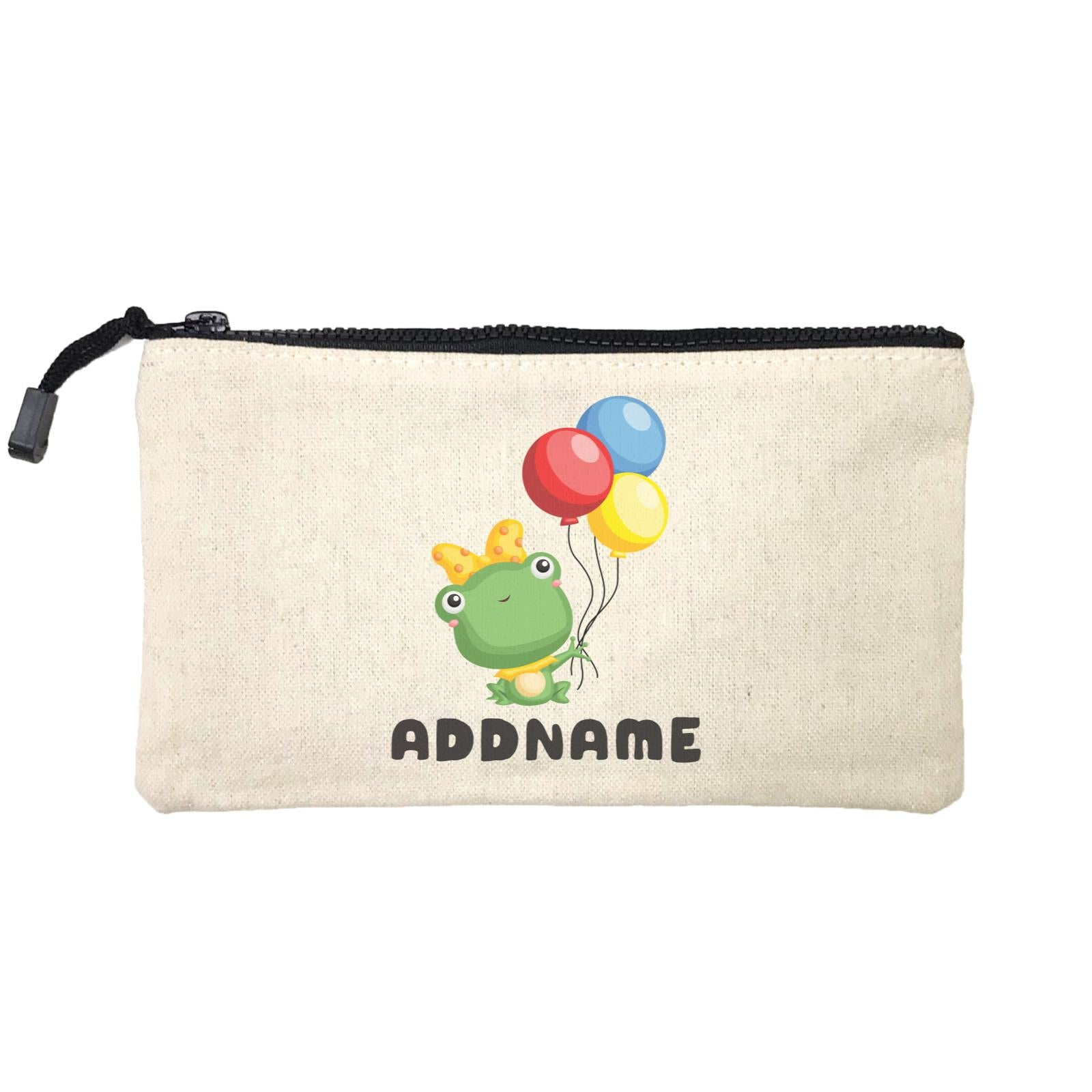 Birthday Frog Frog Girl Holding Balloons Addname Mini Accessories Stationery Pouch