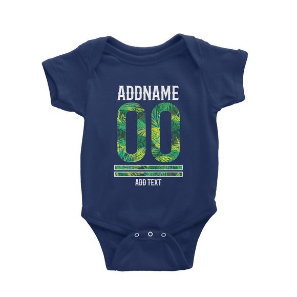 Palm Leaves Pattern Jersey Personalizable with Name Number and Text Baby Romper