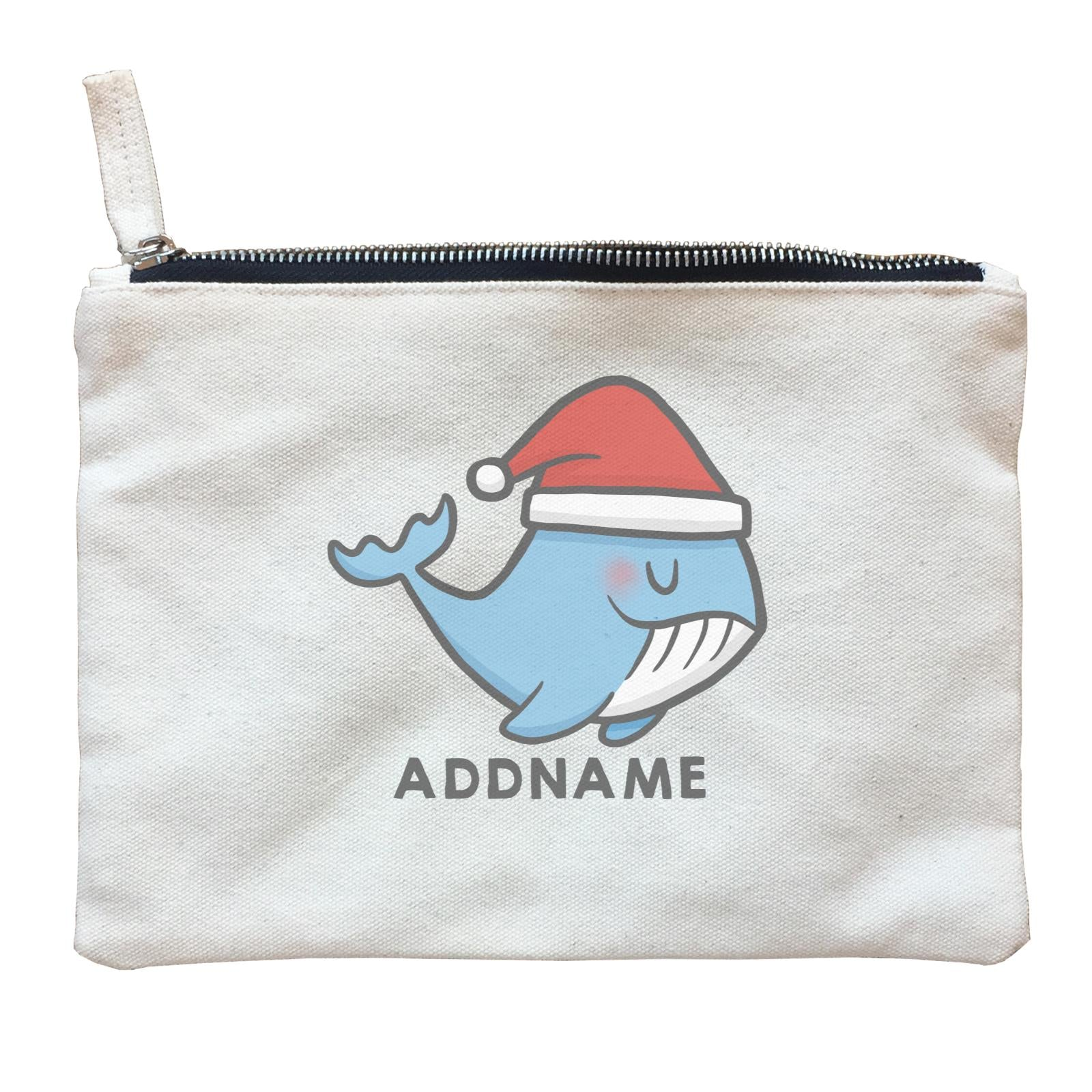 Xmas CuteWhale Christmas Hat Addname Accessories Zipper Pouch