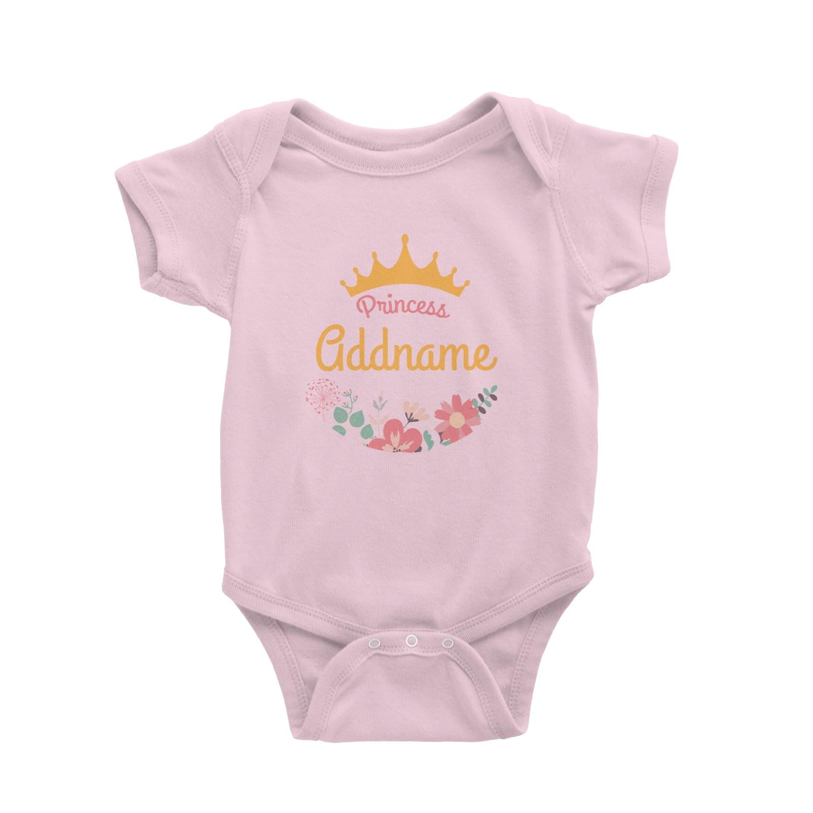 Princess Addname with Tiara and Flowers 2 Baby Romper