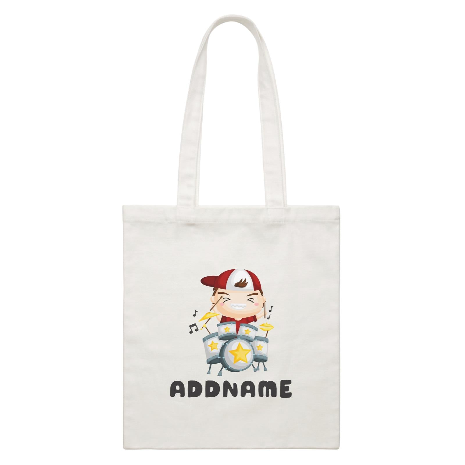 Birthday Music Band Boy Playing Drums Addname White Canvas Bag