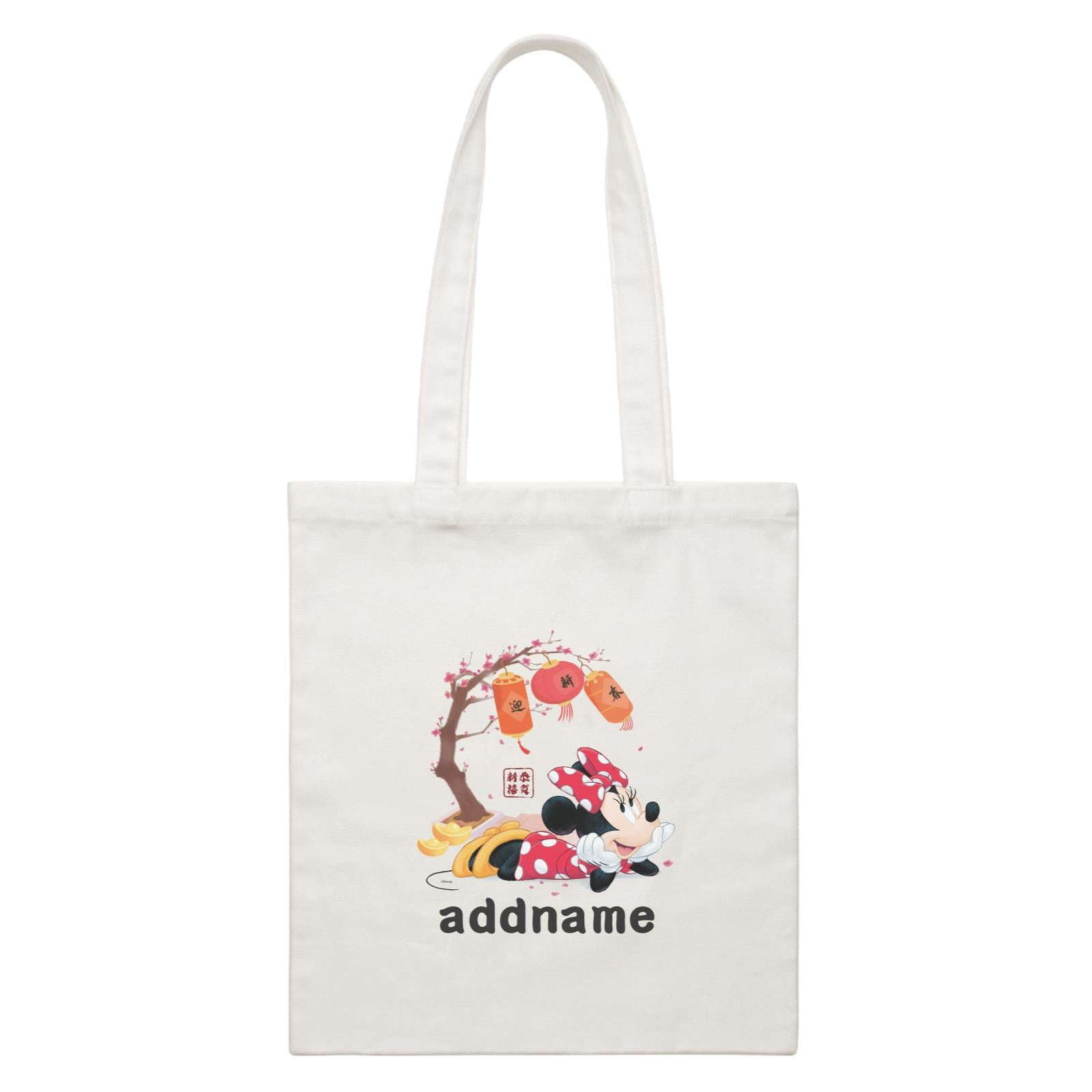 Disney CNY Minnie With Prosperity Elements Personalised CBR White Canvas Bag
