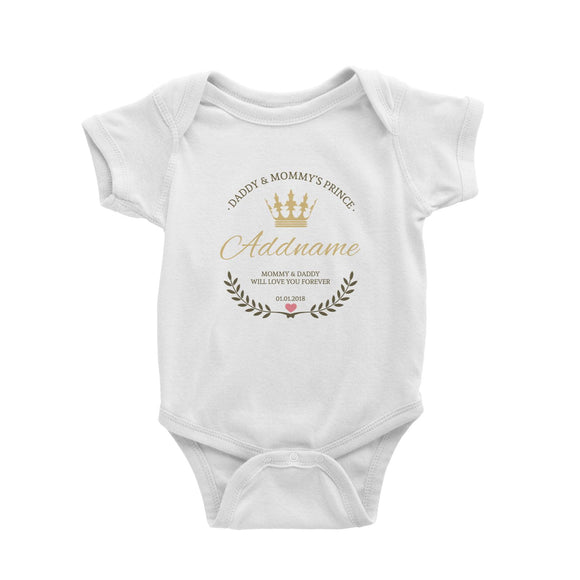 Daddy and Mommy's Prince with Crown Wreath Personalizable with Name Text and Date Baby Romper
