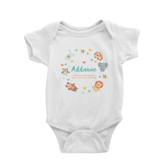 Cute Safari Animals with Stars Element Personalizable with Name and Text Baby Romper