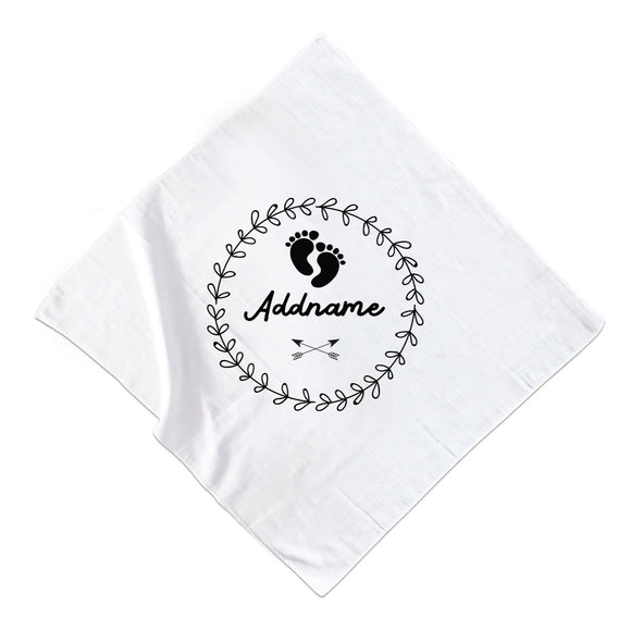 Monochrome Footprints and Arrows Addname Muslin Muslin Square