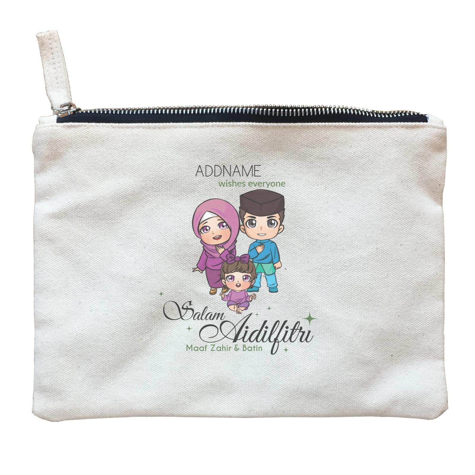 Raya Chibi Family And Baby Girl Addname Wishes Everyone Salam Aidilfitri Maaf Zahir & Batin Zipper Pouch