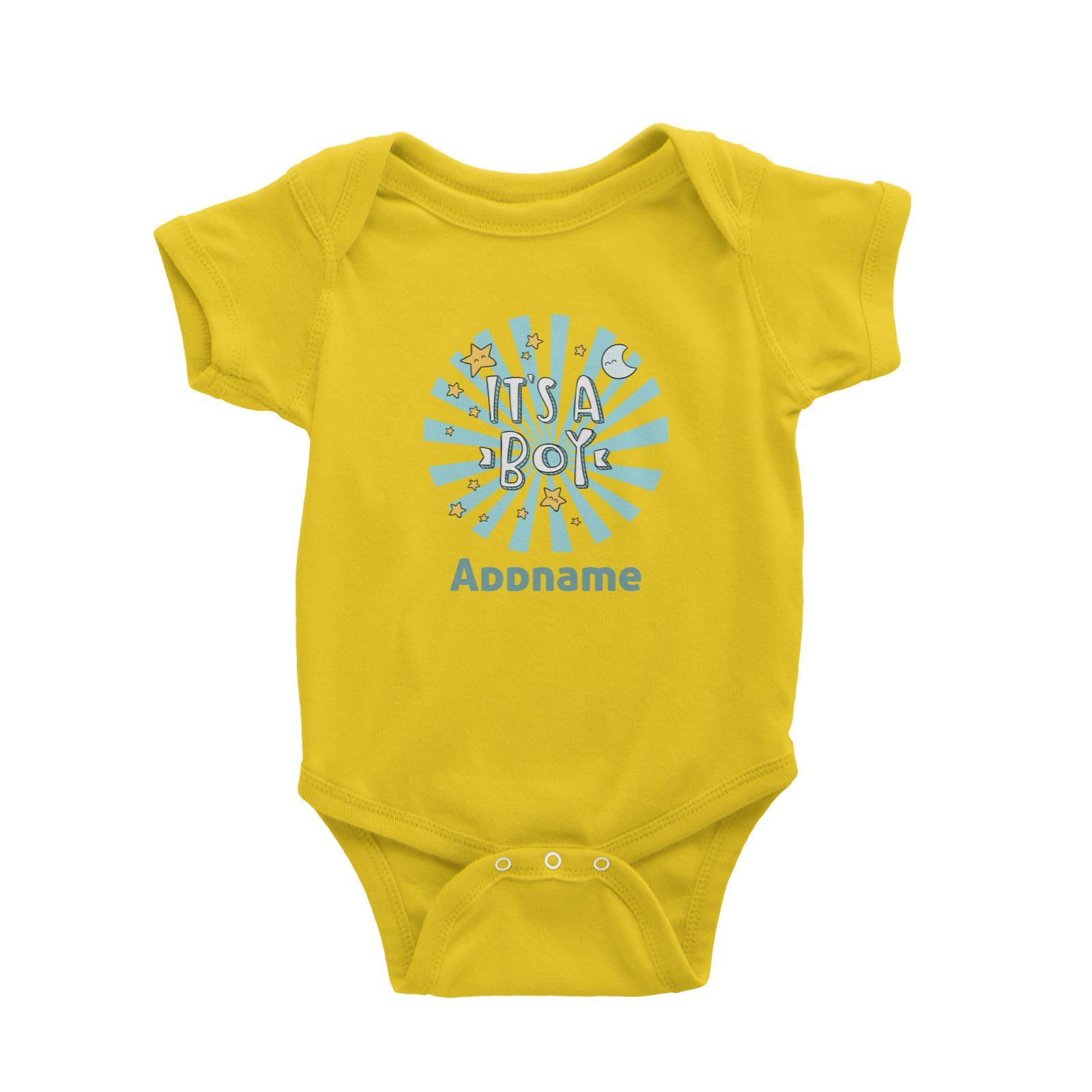 Babywears.my It's A Boy Addname with Stars and Moon T-Shirt Personalizable Designs For Boys Newborn