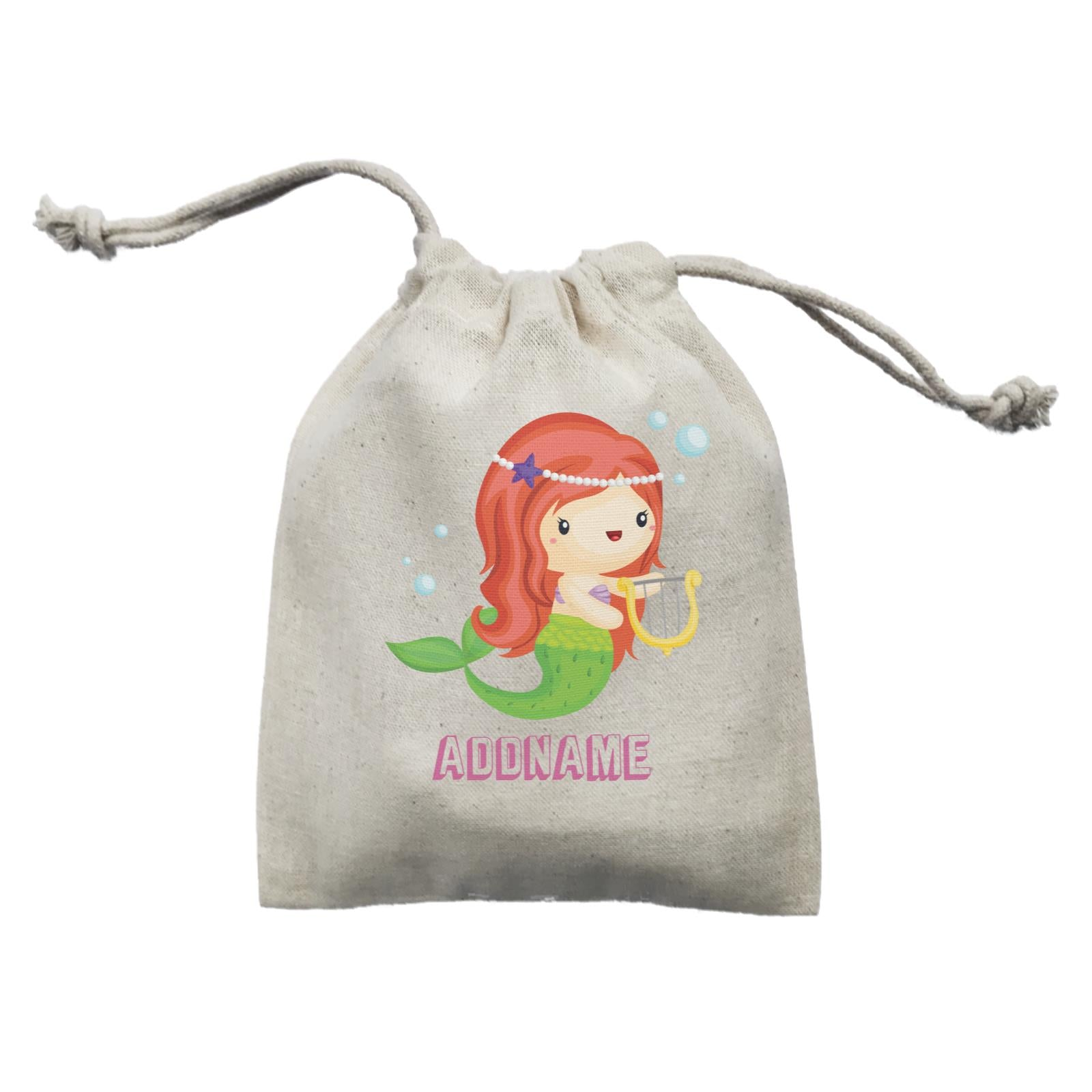 Birthday Mermaid Red Long Hair Mermaid Playing Harp Addname Mini Accessories Mini Pouch