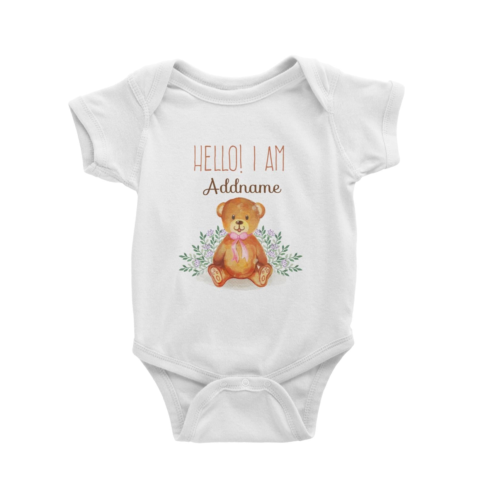Hello I am Addname with Cuddly Bear Baby Romper Personalizable Designs Basic Newborn