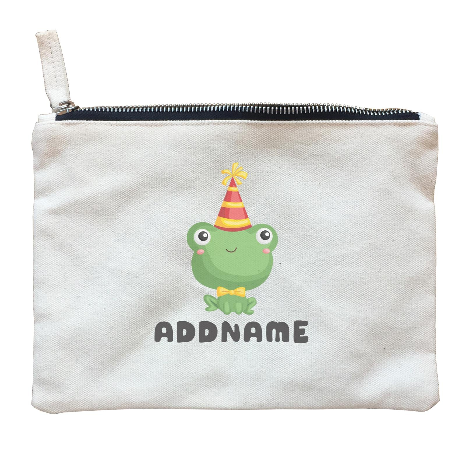 Birthday Frog Frog Wearing Party Hat Addname Zipper Pouch