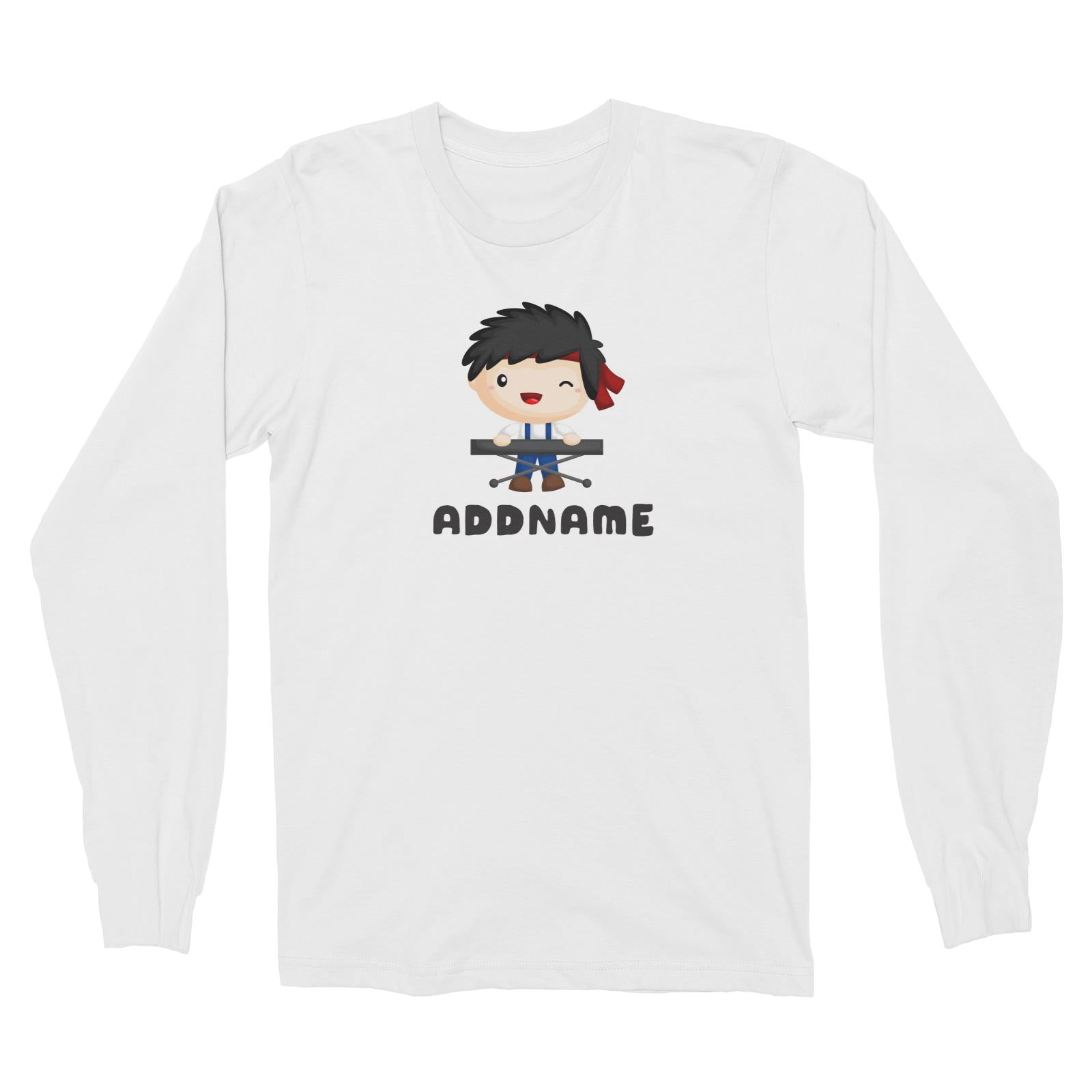 Birthday Music Band Boy Playing Electric Piano Addname Long Sleeve Unisex T-Shirt