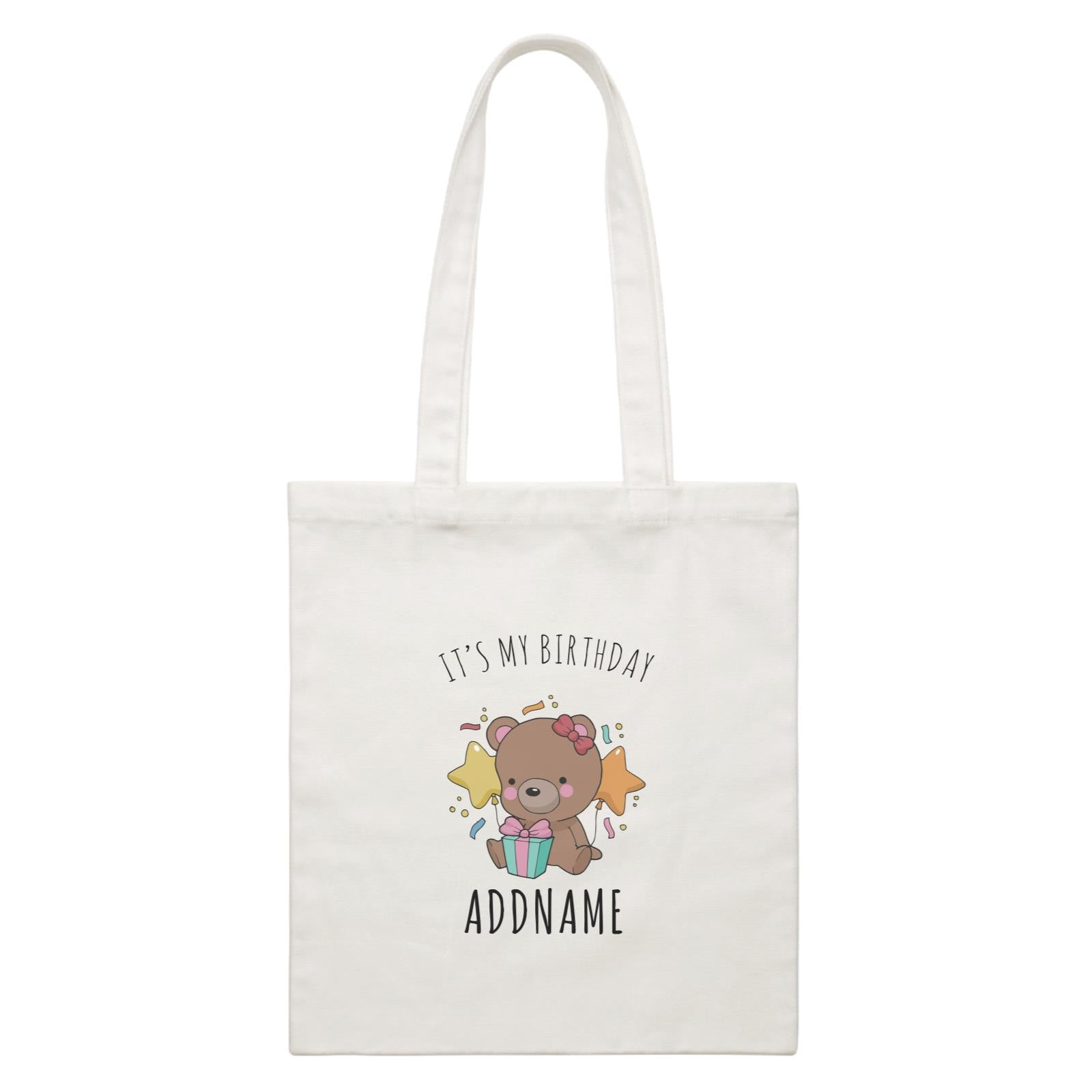 Birthday Sketch Animals Bear with Present It's My Birthday Addname White Canvas Bag