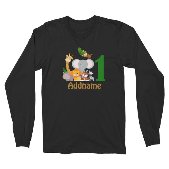 Animal Safari Jungle Birthday Theme Personalizable with Name and Number Long Sleeve Unisex T-Shirt