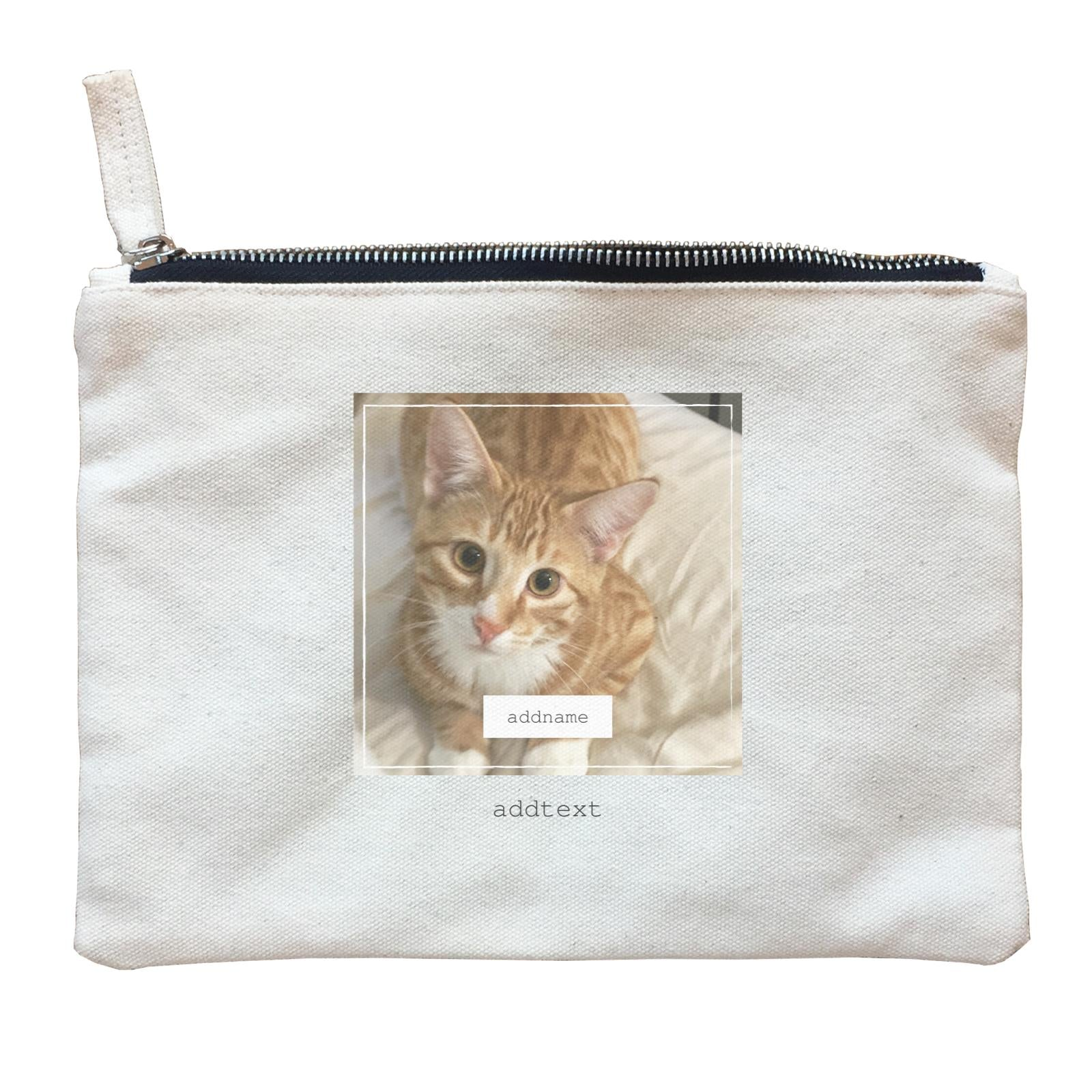 Photo Gift Series Thin Border Frame Zipper Pouch