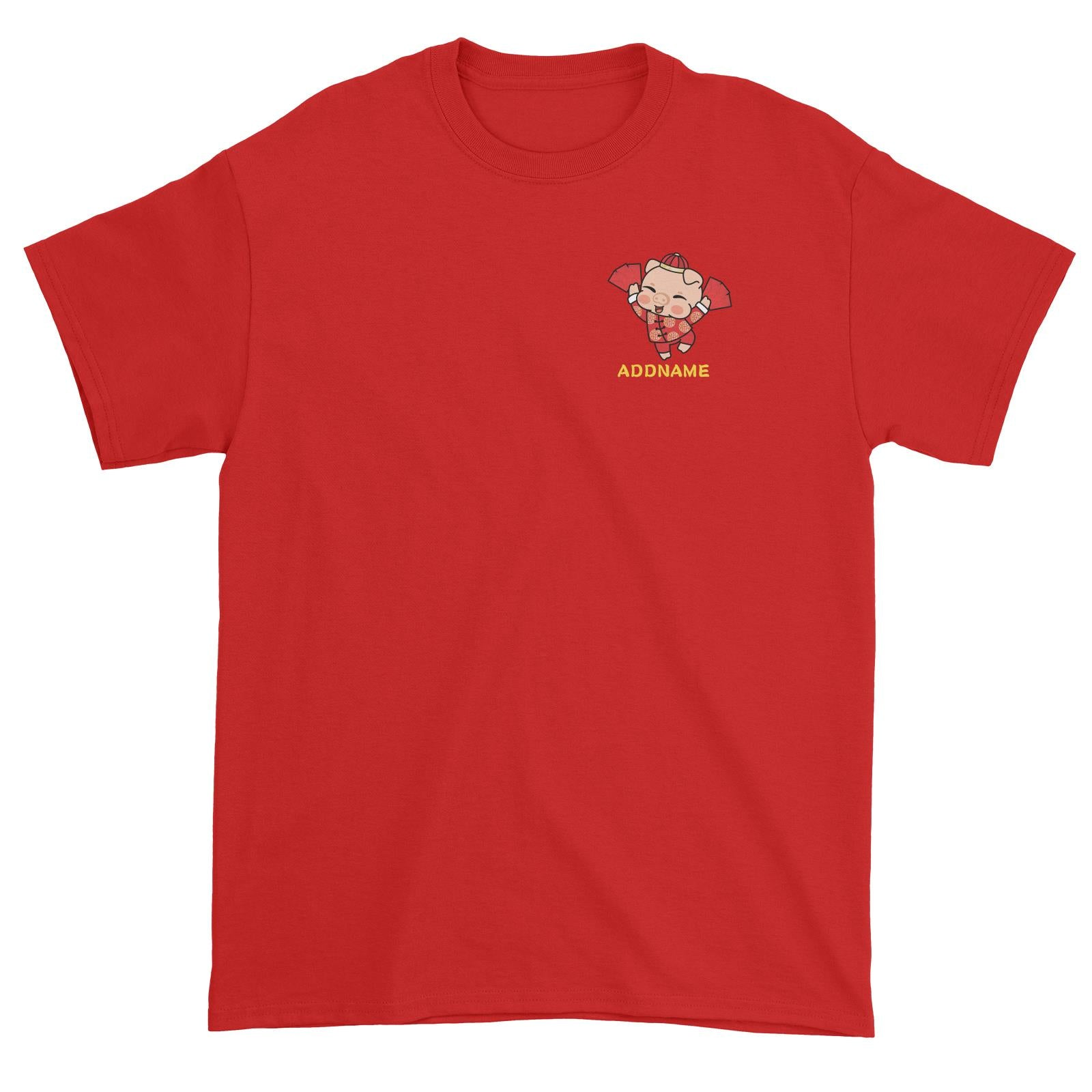 Properity Pig Boy with Red Packets Pocket Design Unisex T-Shirt