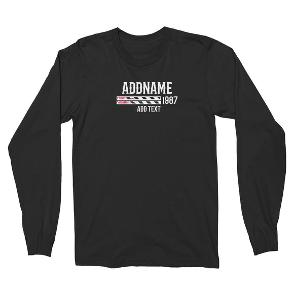 Pink Hibiscus Flower Stripes Bars Personalizable with Name Year and Text Long Sleeve Unisex T-Shirt
