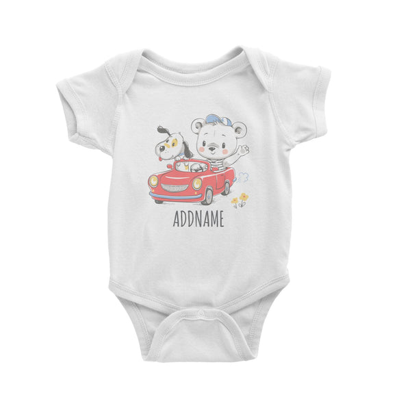 Bear Riding Car with Dog White Baby Romper Personalizable Designs Cute Sweet Animal For Boys HG