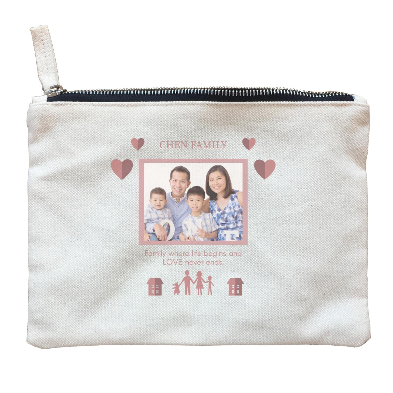 Photo Gift Series Love Frame For Family Zipper Pouch