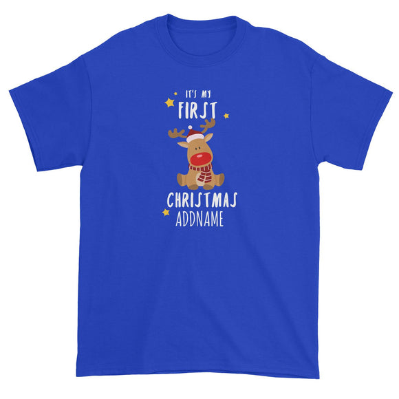 Cute Rudolph First Christmas Addname Unisex T-Shirt  Personalizable Designs Animal