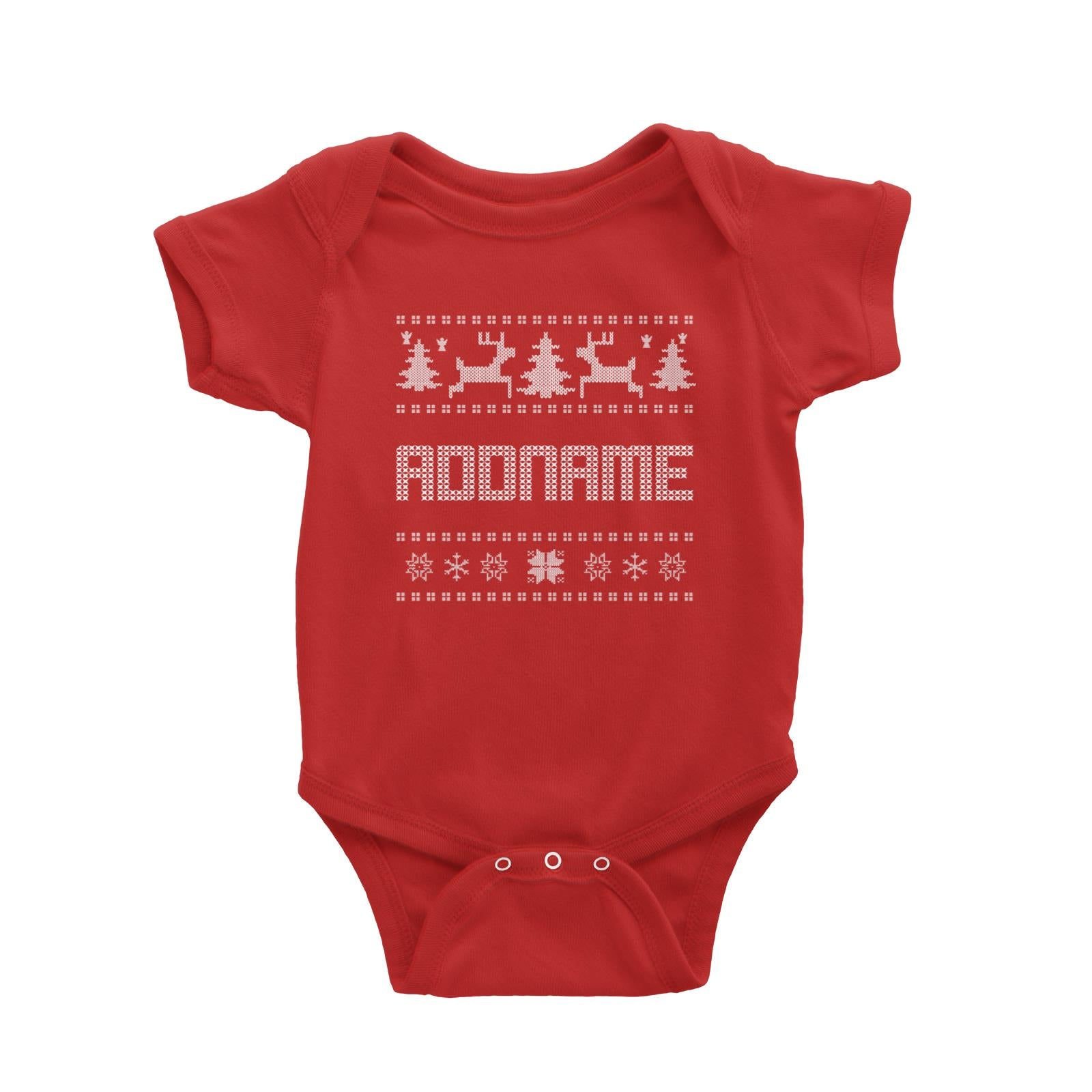 Christmas Sweater Addname Baby Romper  Matching Family Personalizable Designs