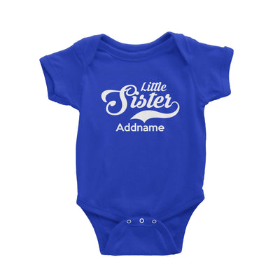 Retro Little Sister Addname Baby Romper  Matching Family Personalizable Designs