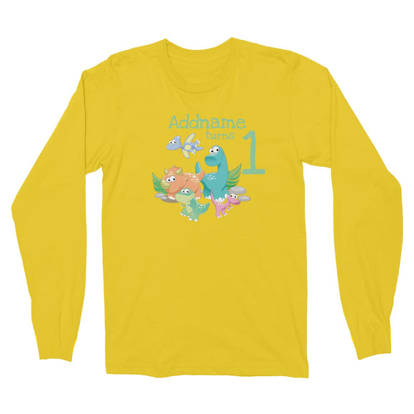 Dinosaurs Birthday Theme Personalizable with Name and Number Long Sleeve Unisex T-Shirt