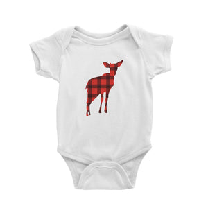Baby Deer Silhouette Checkered Pattern Baby Romper Christmas Matching Family Animal