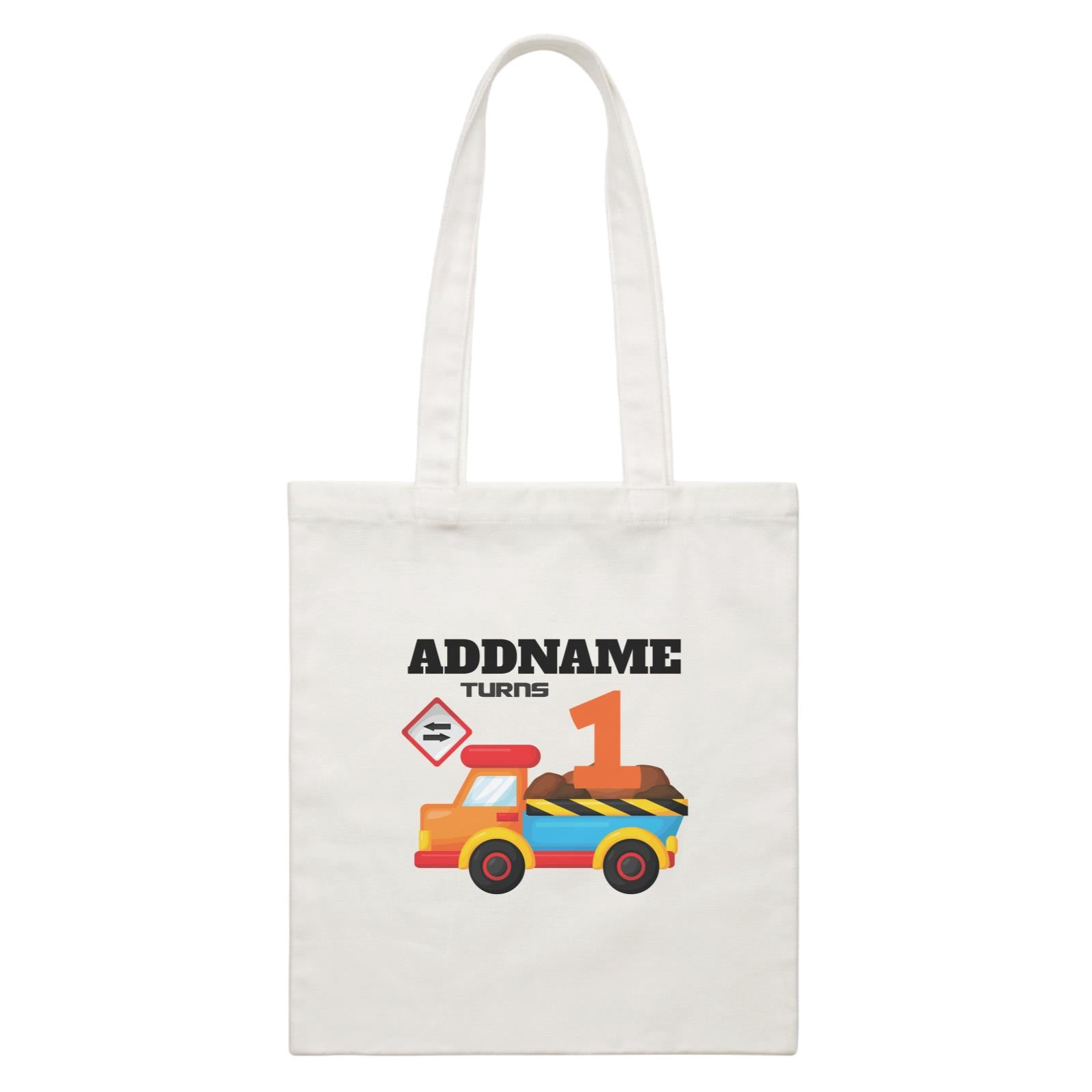 Birthday Construction Dump Truck Addname Turns 1 White Canvas Bag