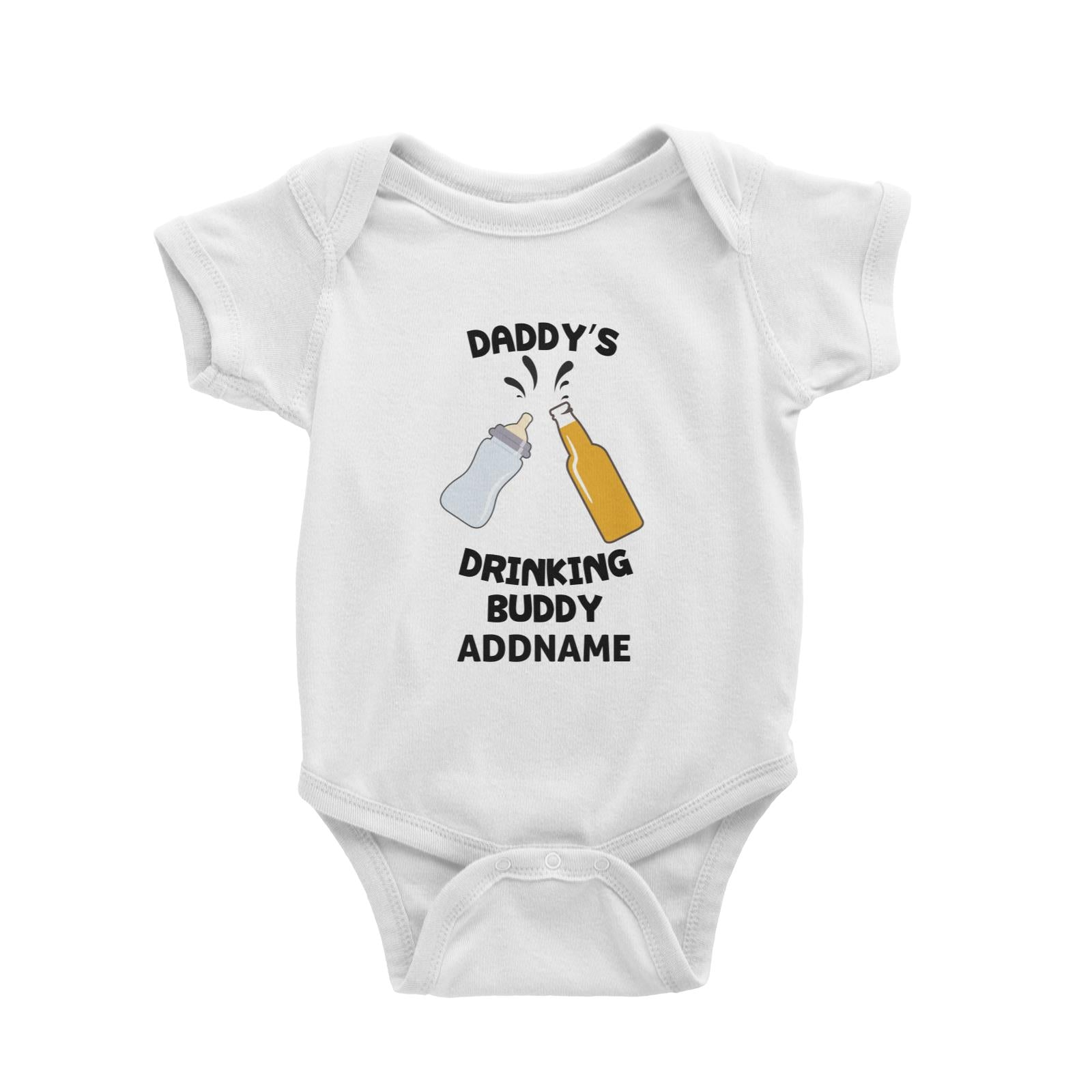 Daddy's Drinking Buddy Addname Baby Romper Personalizable Designs Basic Newborn