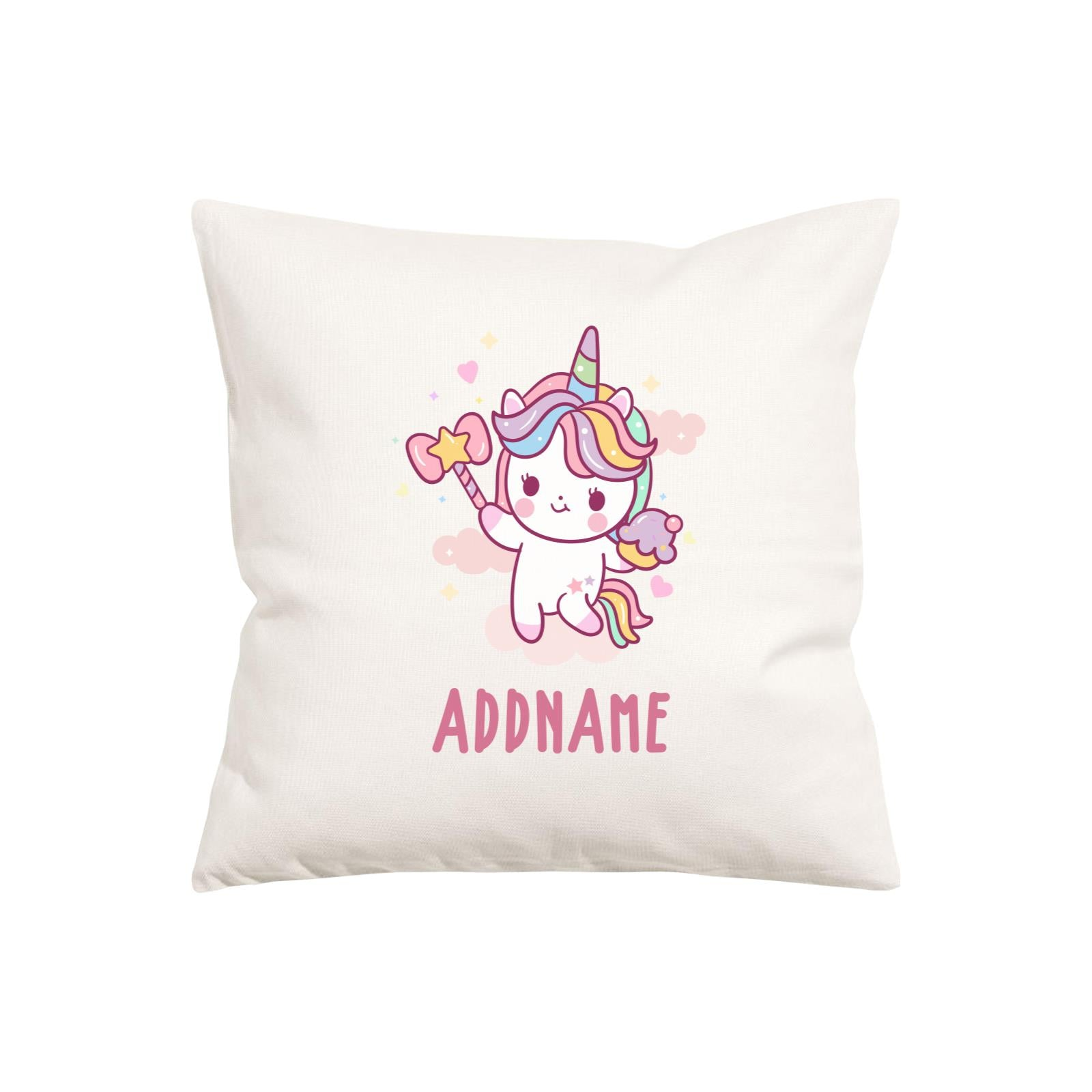 Unicorn And Princess Series Cute Unicorn Holding Magic Wand Addname Pillow Cushion