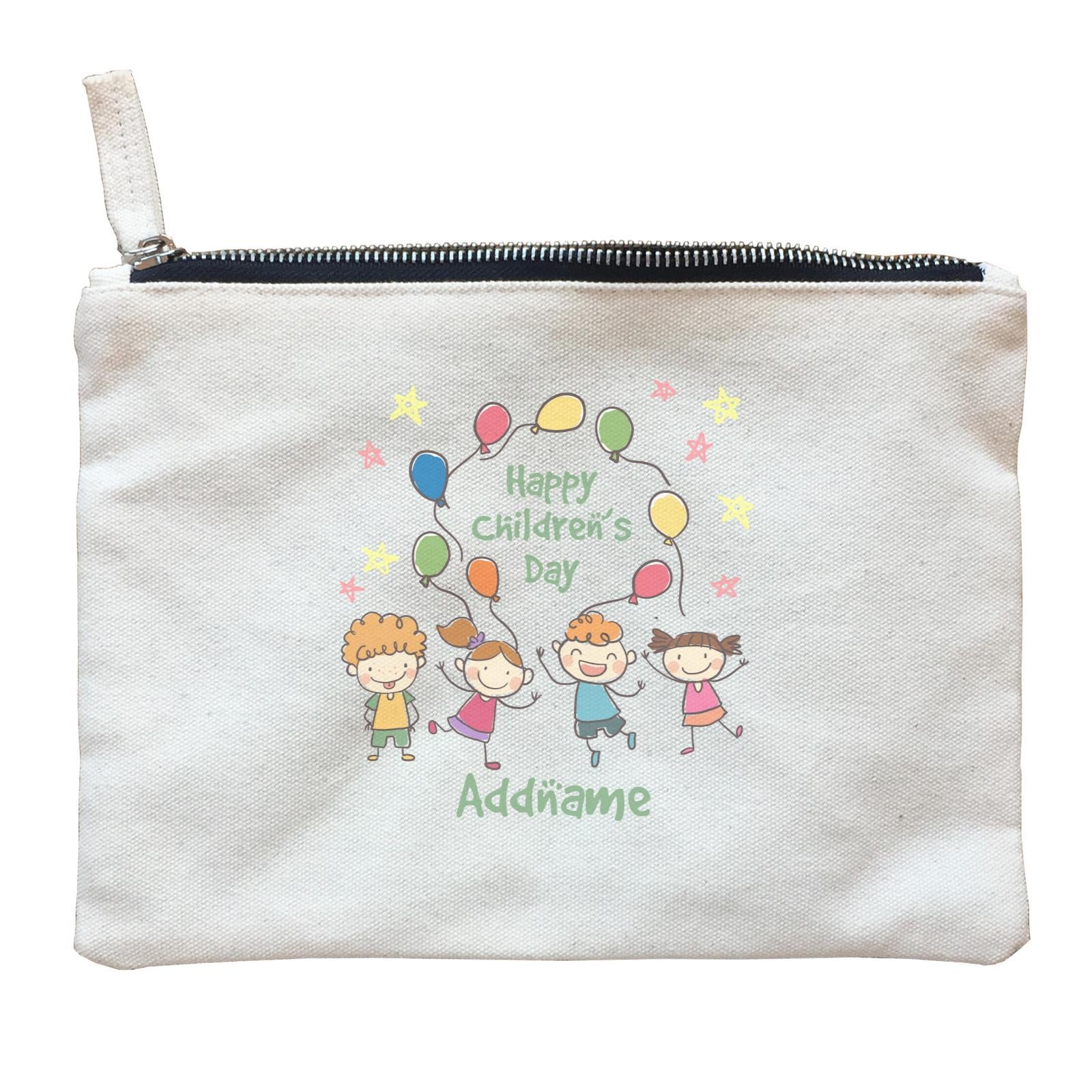 Children's Day Gift Series Four Cute Children With Balloons Addname  Zipper Pouch