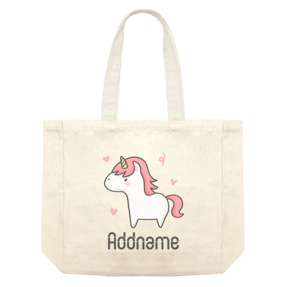 Cute Hand Drawn Style Unicorn Addname Shopping Bag