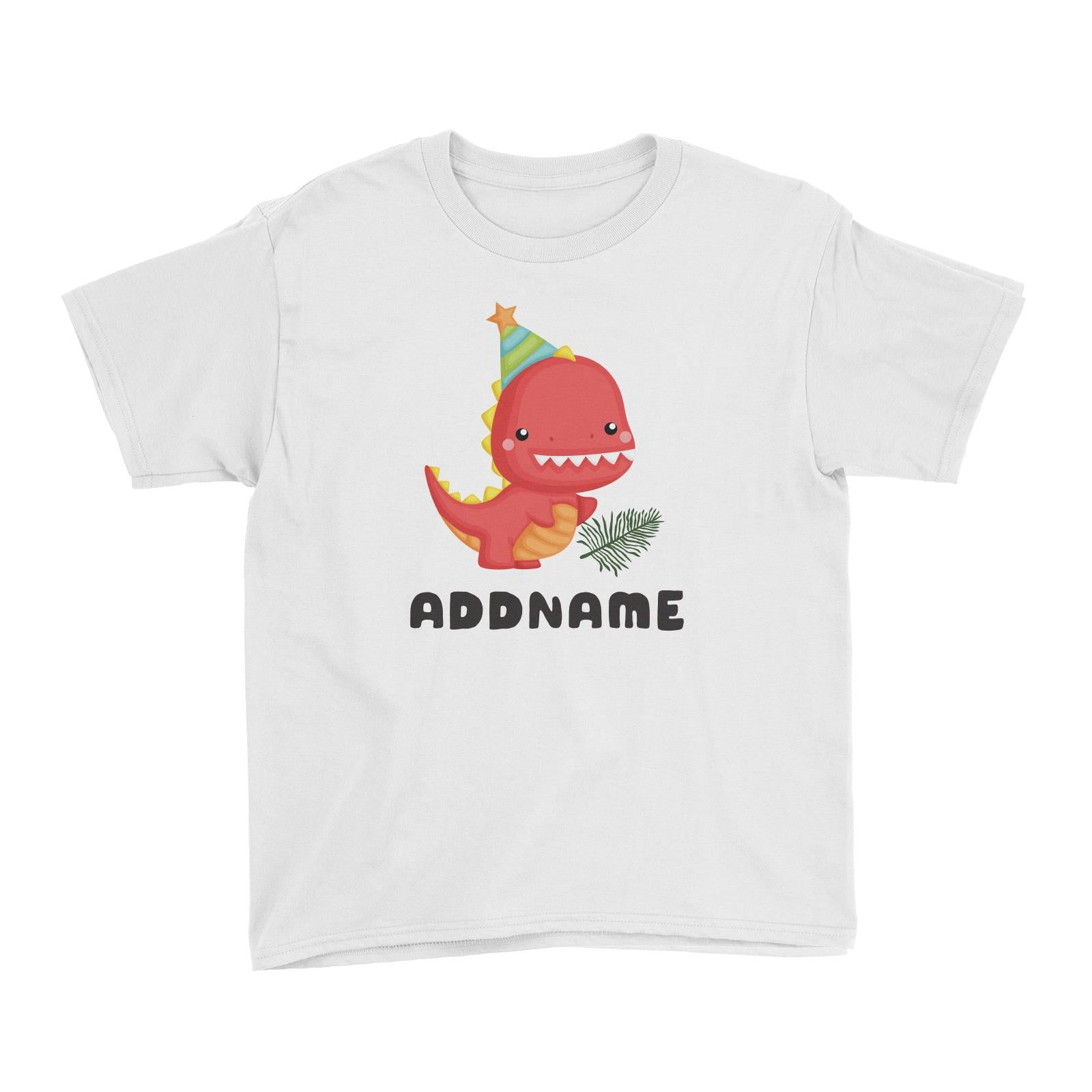 Birthday Dinosaur Happy Red Rex Wearing Party Hat Addname Kid's T-Shirt