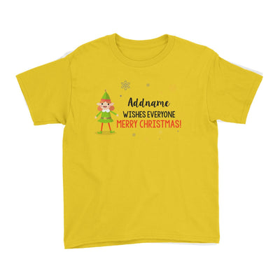 Cute Elf Girl Wishes Evryone Merry Christmas Addname Kid's T-Shirt  Matching Family Personalizable Designs
