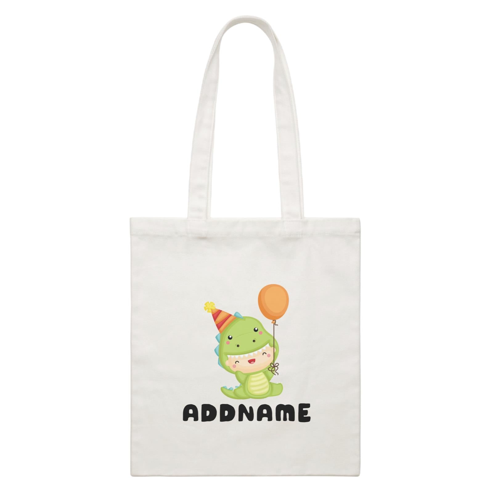 Birthday Dinosaur Happy Baby Wearing Dinosaur Suit And Party Hat Addname White Canvas Bag