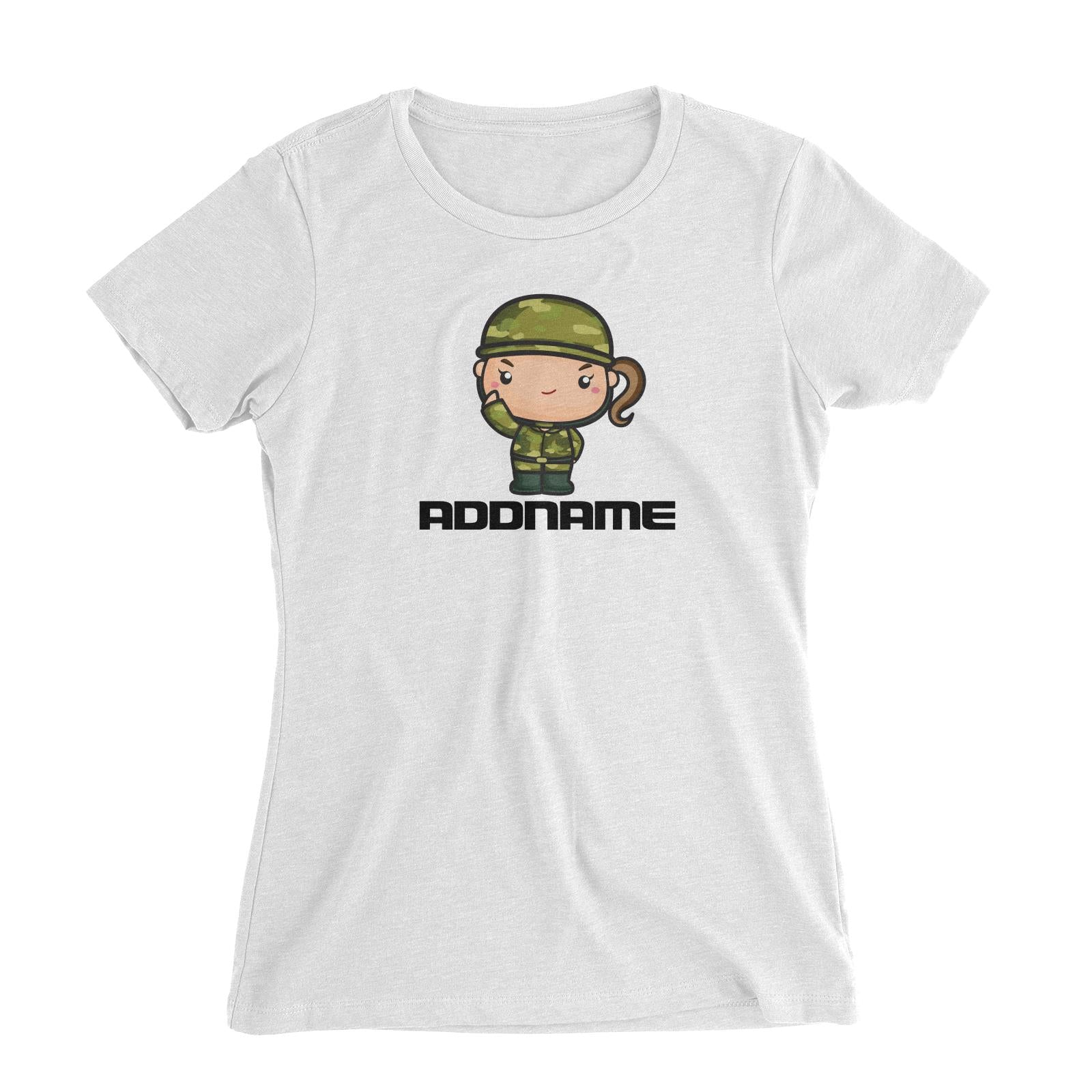 Birthday Battle Theme Army Soldier Girl Addname Women's Slim Fit T-Shirt