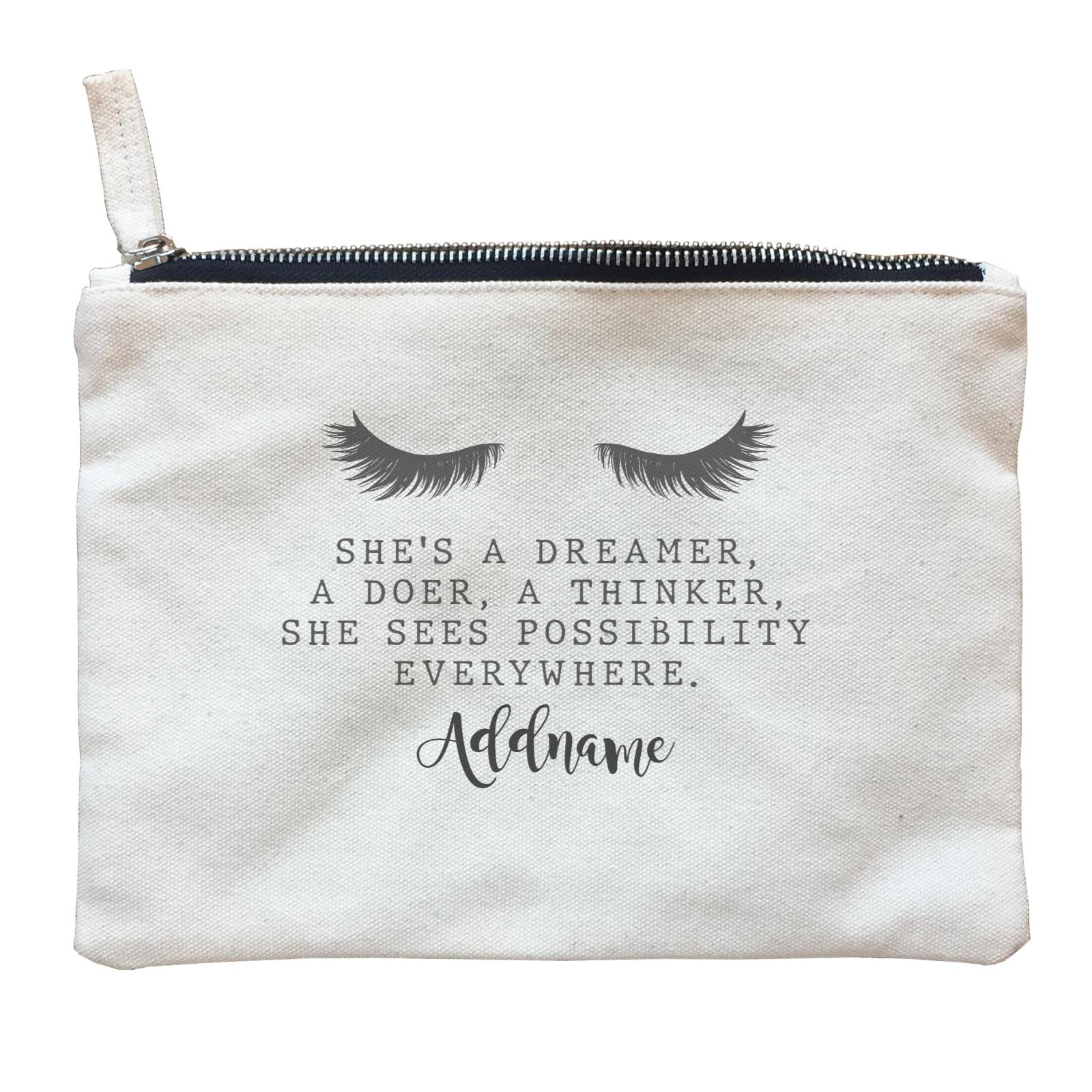 Make Up Quotes She's A Dreamer A Doer A Thinker Addname Zipper Pouch