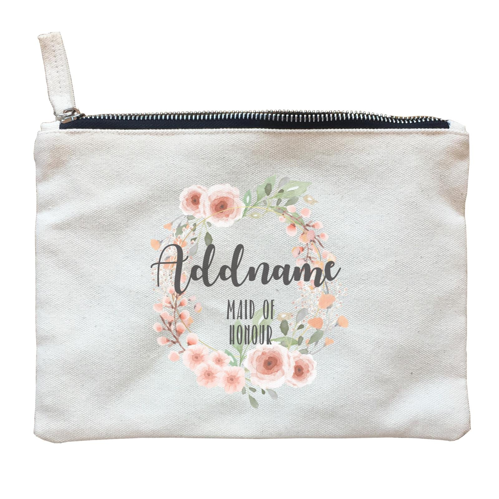 Bridesmaid Floral Sweet 2 Watercolour Flower Wreath Maid Of Honour Addname Zipper Pouch