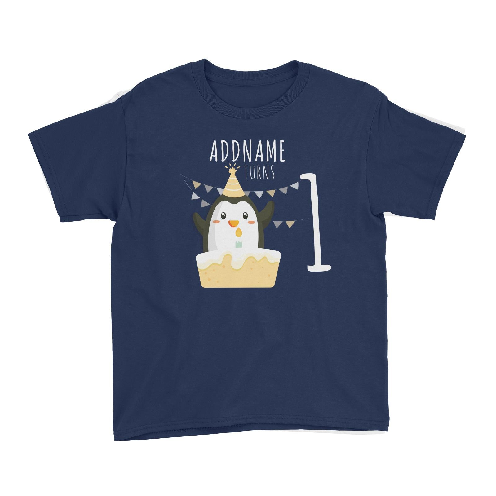 Birthday Cute Penguin And Cake Addname Turns 1 Kid's T-Shirt