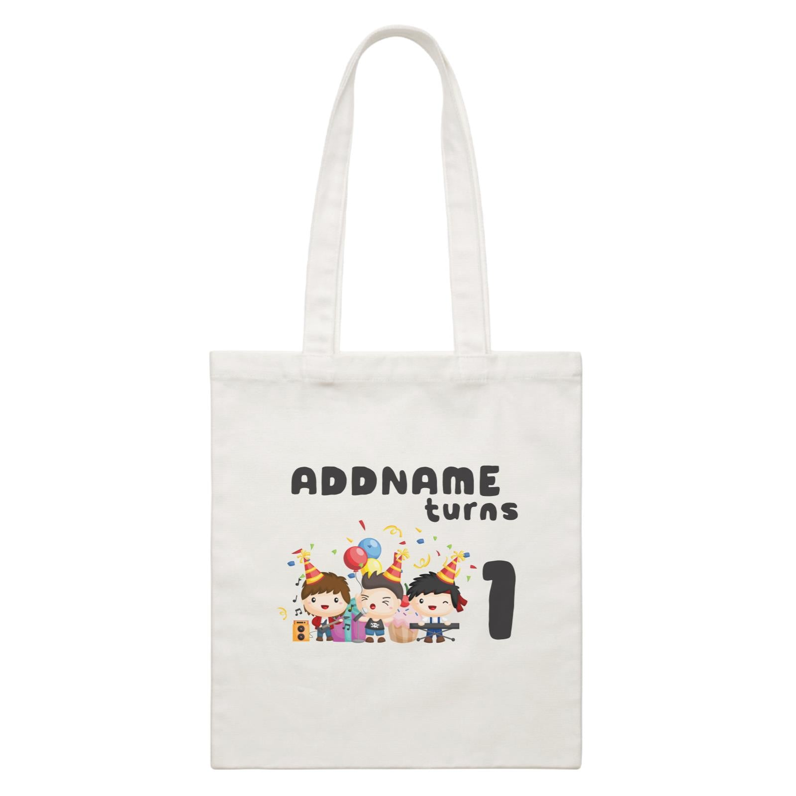 Birthday Music Band Boy Group Addname Turns 1 White Canvas Bag